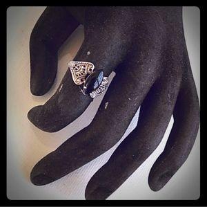VINTAGE SETA Silver Tone Black Stone Ring